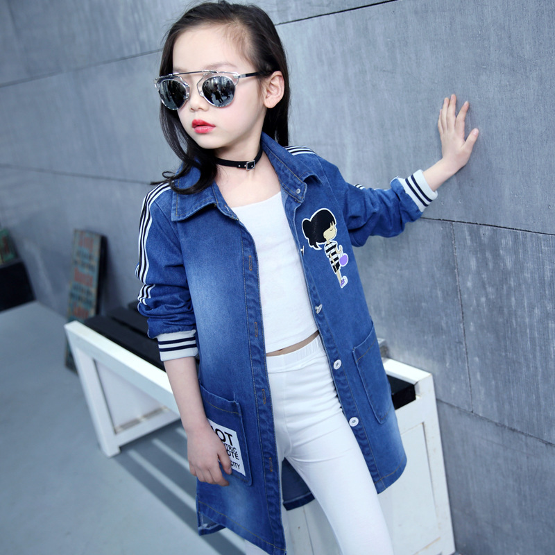 2017 new British children's jacket girl autumn children beautiful cowboy trench coat Autumn&Spring 5 6 7 8 9 10 11 12 Years old 2016 autumn and spring new girl fashion cowboy short jacket bust skirt two suits for2 7 years old children clothes set