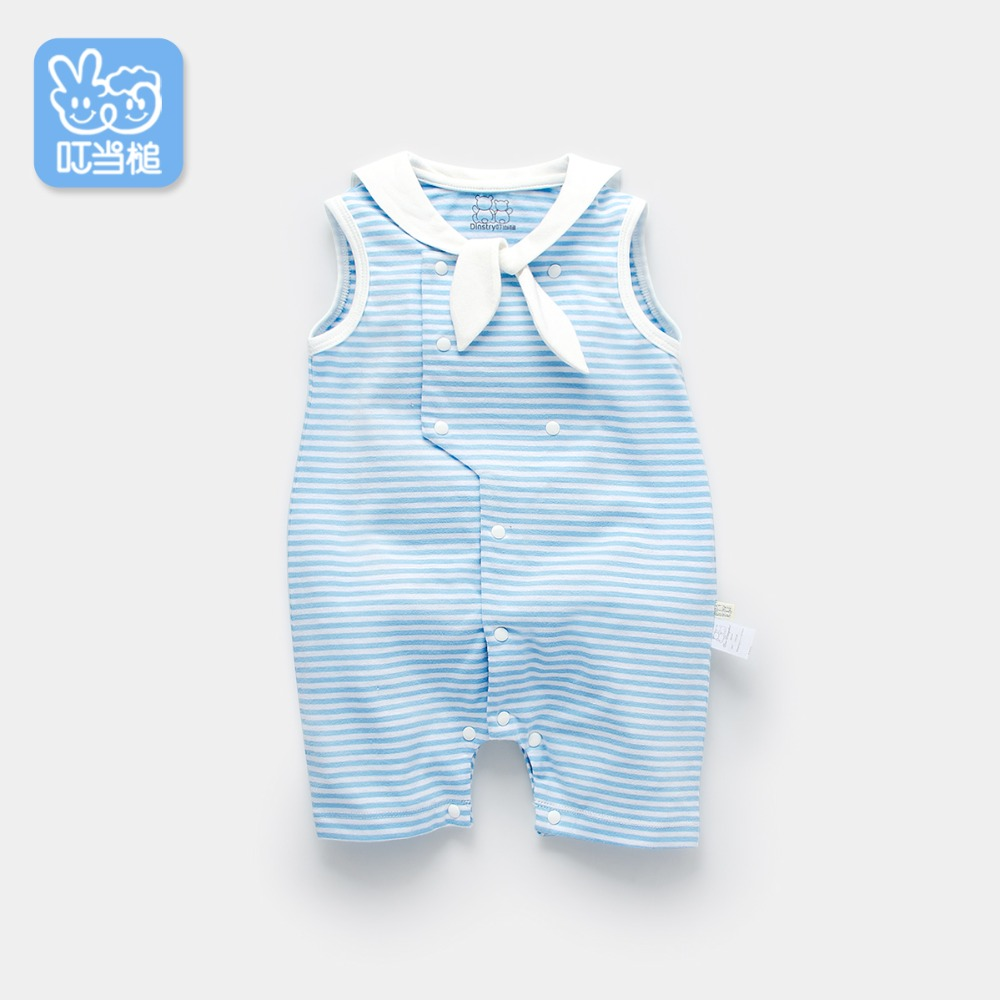 Summer Newborn Toddler Baby Girl Cute Striped Navy Style Short Sleeves Jumpsuit Baby Clothes 0-12M Hot Sale