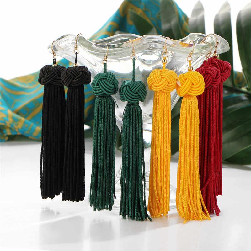 Bohemian ยาว Fringe ต่างหูผู้หญิงย้อนยุค Handmade สานผ้าไหม Drop Tassel ต่างหูงานแต่งงานงบเครื่องประดับหญิง Charm 826