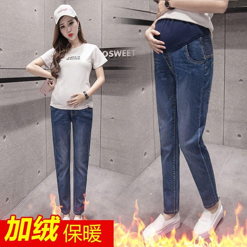 Plus velvet cowboy pregnant women pants autumn and winter pregnant women pants harem pants feet pants