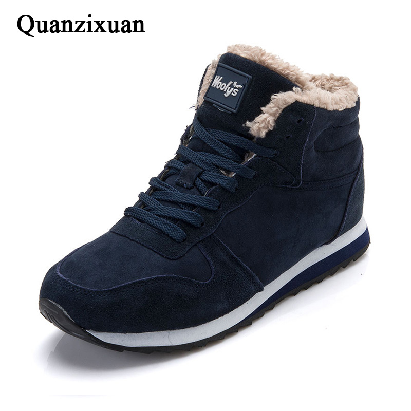 Quanzixuan Men Boots Winter Warm Snow Boots 2019 New Male Shoes Blue Black Lace-Up Suede Ankle Boots Fashion Casual Shoes