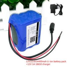 12 V 4.4 Ah battery 4400 mAh 18650 12.6V + PCB; Lithium battery protection board+12V1A chagrer(EU/US)