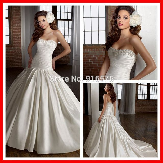 Silk Like Satin Strapless Wedding Dress Nice Special Clic Ball Gown Bridal Gowns With Beaded Neckline