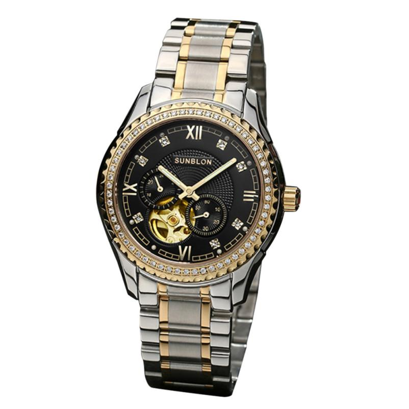New style SUNBLON S505B Stainless Steel Mechanical Skeleton Watch Golden Movement#915 new style sunblon s505b stainless steel mechanical skeleton watch golden movement 915