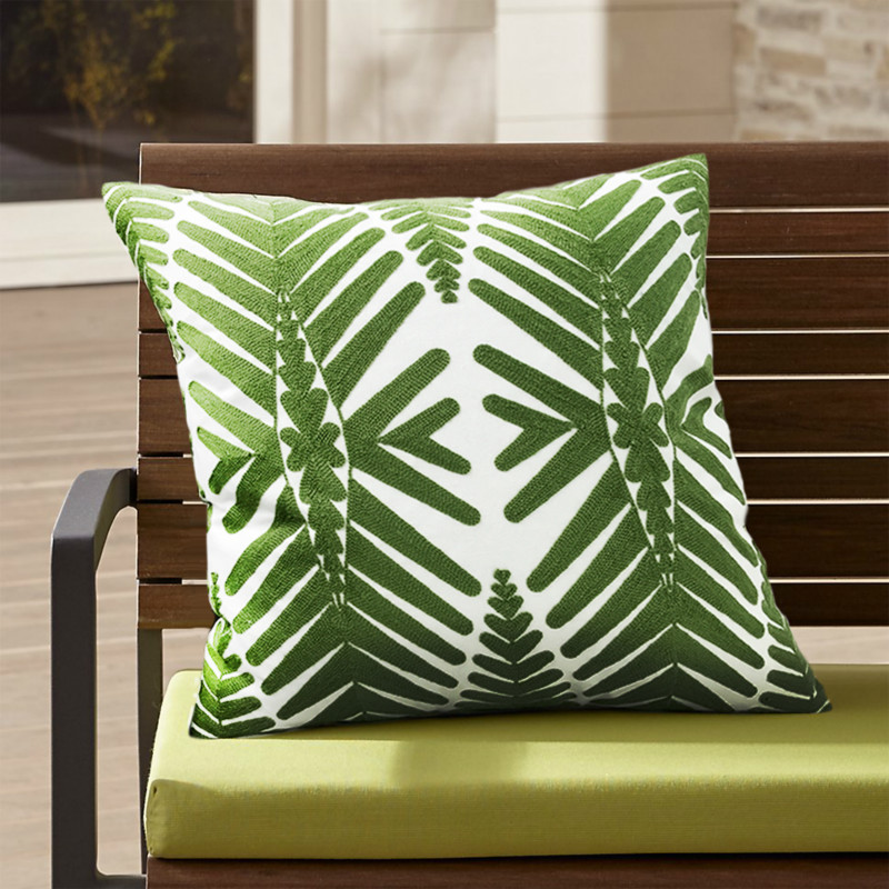 Fresh Green Palms Embroidered Cushion Cover