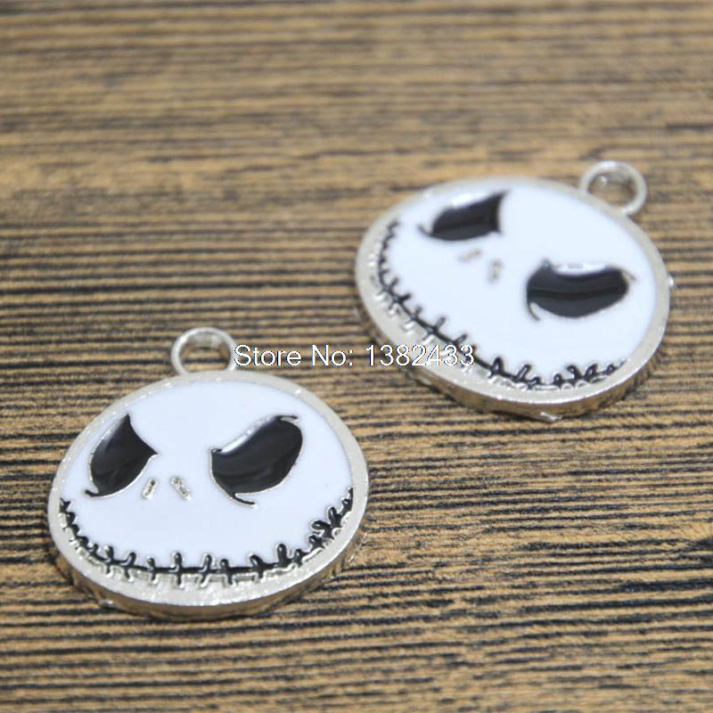 Nightmare Before Christma Jack Cabochon Glass Tibet Silver Chain Necklace