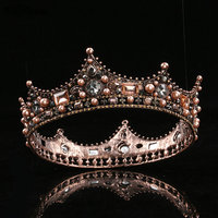 Vintage Baroque Luxury Bridal Crown Wedding Party Prom Pearls Full Crystal Big King Queen Tiara and Crown coroa casament Gothic