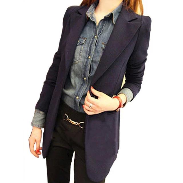 2017 Primavera Outono das mulheres se adapte às Jaquetas New One-button Blazers Terno de Manga Longa Das Senhoras de Médio Longo blazer Feminino plus Size 3XL