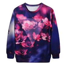 Popular 2017 Colorful Floral Stylish Chinese Factory Manufacturer Leisure Digital Printing Women's Sweatshirt without Hood