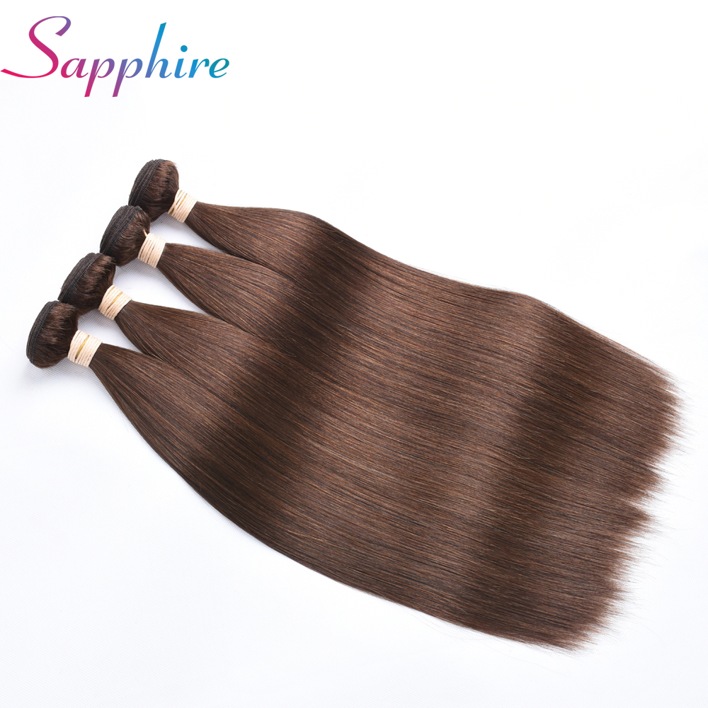Sapphire Malaysian Straight Hair 4 Bundles Deal Non-remy Brown Color 4# Double Weft 8-28 Human Hair Bundles