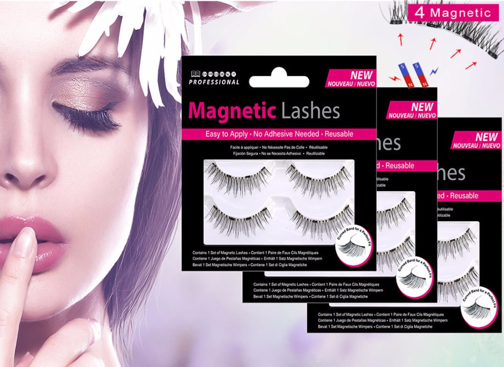 MB 2 Pairs Magnetic Eyelashes With 4 Magnets Handmade 3D/6D Magnetic Lashes Natural False Mink Eyelash Magnet Lash With Gift Box