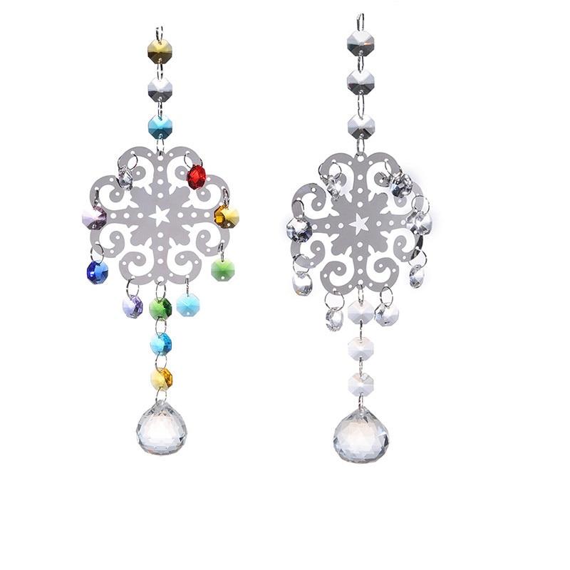 2pcs Metal Christmas Snowflake Hanging Pendants Clear 30mm Crystal Ball Rainbow Maker Prisms Parts Suncatcher Christmas Ornament