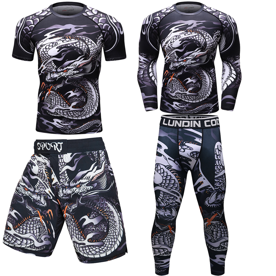Bjj Rashguard Jiu Jitsu T-shirts+Pants Men's Mma Rashguard Boxing Sets Breathable Muay Thai MMA Shorts Gi Fitness Boxing Jerseys