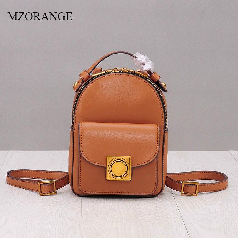 MZORANGE Female Backpack Genuine Leather Small Vintage Zipper School Bag Fashion Lock Oil Wax Mini Woman Backpacks For Girls цена