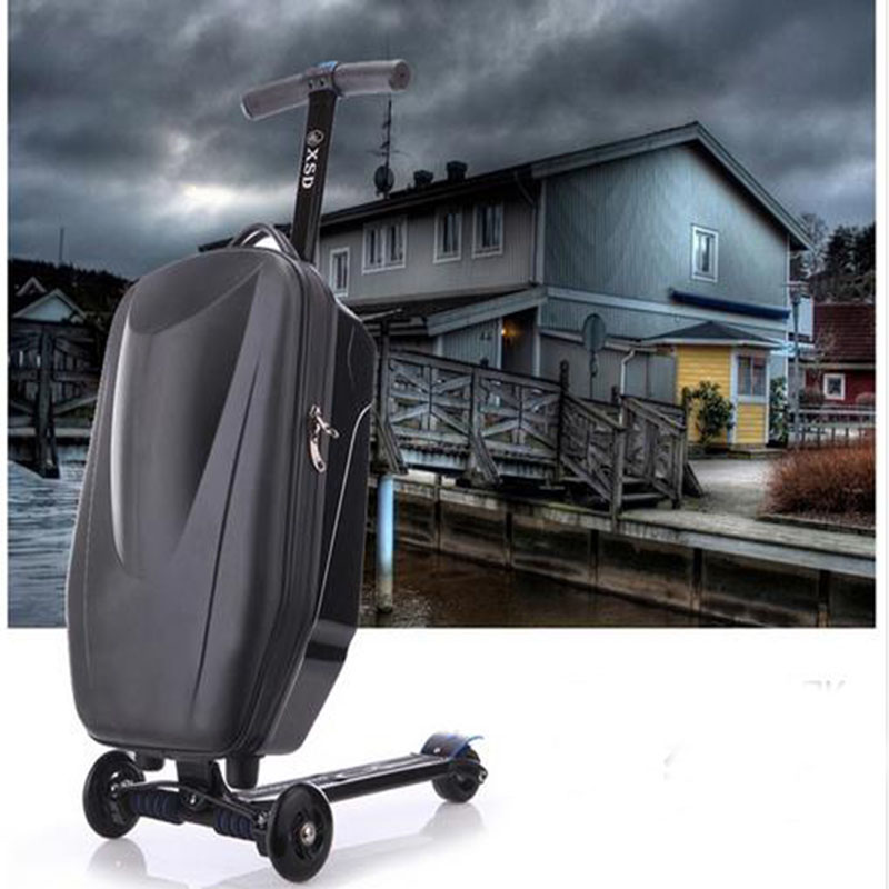 NEW Fashion Brand Micro Scooter Skateboard Rolling Luggage Trolley Men Suitcase Trunk Women Travel Bag Hot-top Quality Student
