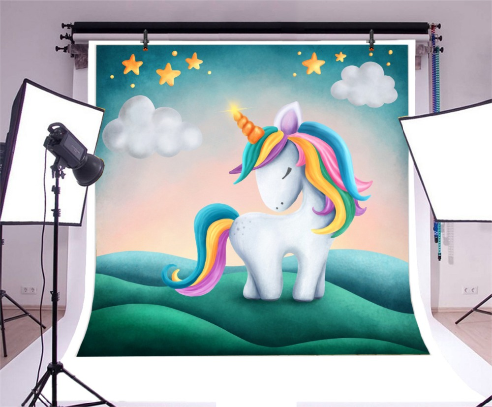 Laeacco Golden Star Unicorn Birthday Party Baby Newborn Portrait Poster Photo Backdrops Photo Backgrounds Photocall Photo Studio in Background from Consumer Electronics