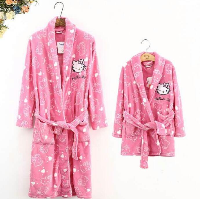 Spring Autumn Baby Soft Coral Fleece Bathrobe girls hello kitty Sleepwear Robe 4 - 10 T Children