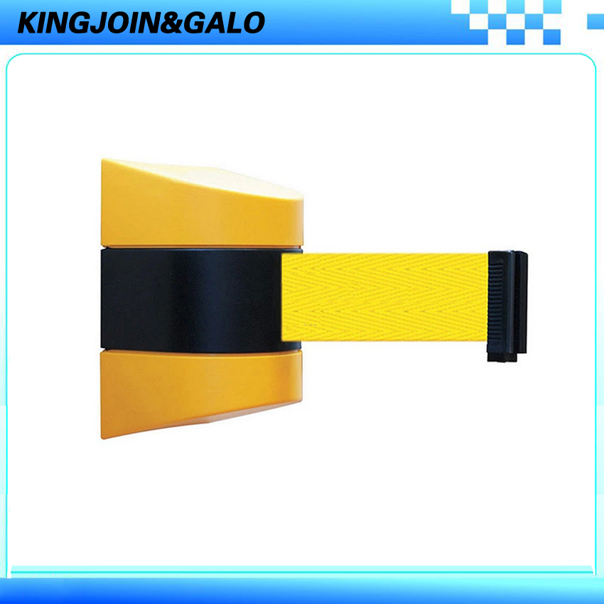 Max 10m belt length wall mounted retractable belt barrier with yellow / black striped caution belt for separated region max 5m belt lengthe wall amoutn barrier stanchions retractable betl for area separation