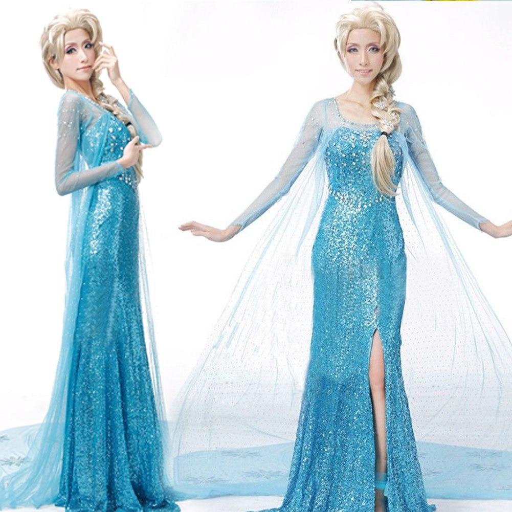 Ratu Elsa Putri Besar Gaun Koktail Pesta Cosplay Dewasa Wanita Halloween Kostum-Internasional
