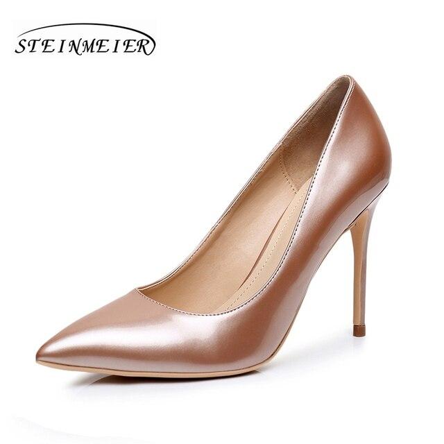 1e21d52e € 90.04  10 cm zapatos de tacón Alto de las mujeres elegantes cómodas talón  desnudo de oro de punto del dedo del pie zapatos de tacón fino ...