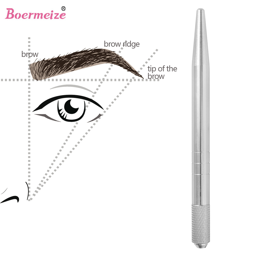Tattoo Pen Permanent Makeup Machine Microblading Øyenbrynpenn for Lip Tattoo og øyenbryn tatovering Tebori Pen med 2pcs nål blad