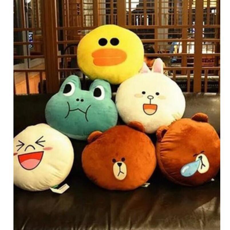 40x40Cm Kawaii line town Cony Rabbit Brown Bear Duck 7 Styles Pillow Cushion Plush Toy  Children Lover Birthday Gift