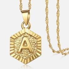 25a11fc72647 Z Letras oro llena de encanto colgante collares para las mujeres joyería  regalos inglés alfabeto inicial collar de cadena DGPM18.