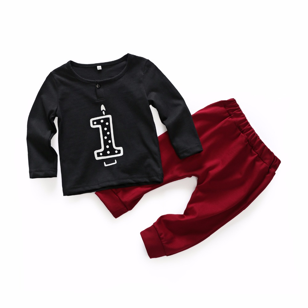 2018 Spring baby boys long sleeve cotton t shirts +pant set lovely infant casual clothes First birthday gift 17N1120