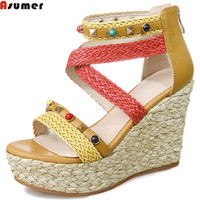 ASUMER Green Brown Fashion Summer Ladies Shoes Zipper Platform Wedges Prom Shoes Casual Women Genuine Leather