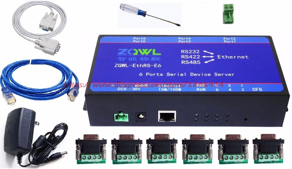 Six Serial Server RS232 RS485 RS422 Transfer Network Modbus TCP To RTU