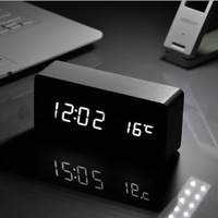 White LED Wooden Board Alarm Clock Temperature Thermometer Digital Watch Voice Activated Battery USB Power Reloj