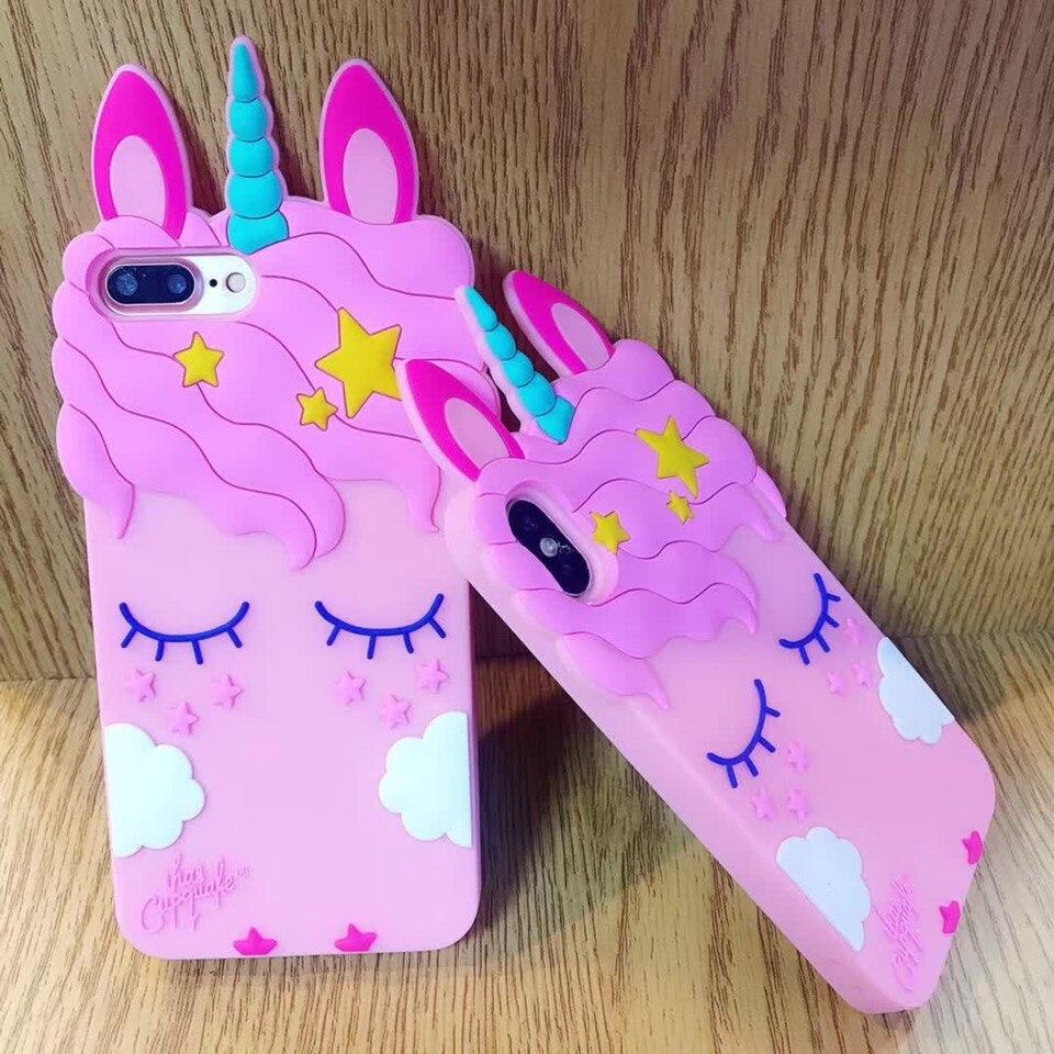 For Huawei P10 Lite P8 Case 3D Cute Cartoon Unicorn Horse Pink Cover P9 lite Soft Rubber