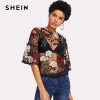 SHEIN 2018 Summer Women Embroidery Tops Multicolor Half Sleeve Buttoned Keyhole Blouses Frilled Sleeve Embroidered Mesh