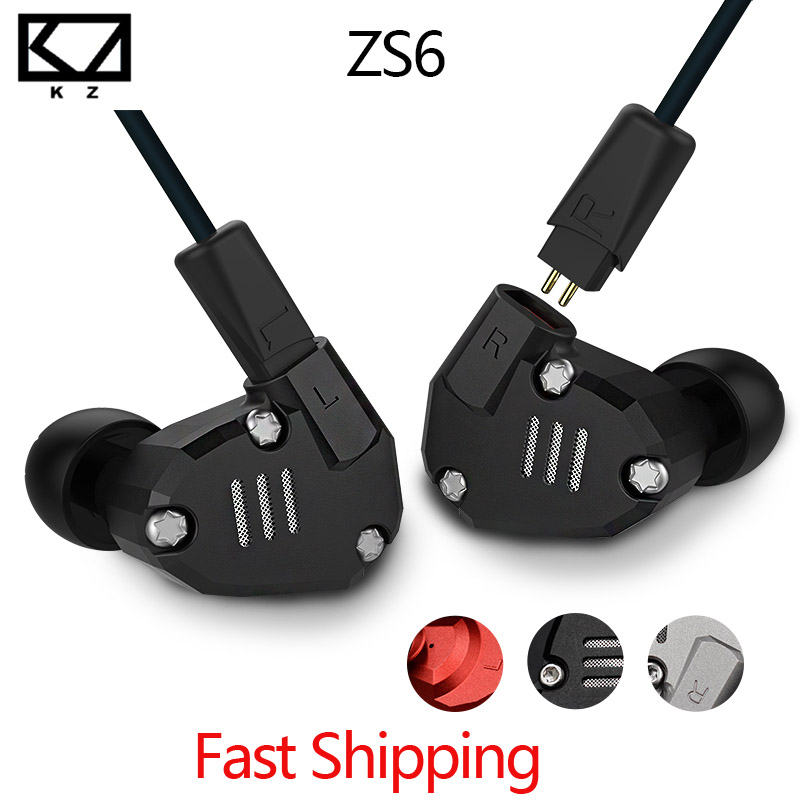Latest Original KZ ZS6 Earbuds 2DD+2BA Hybrid Earphone HIfi In Ear Metal Headphone DJ Monitor Headset Earphones zs10 AS10 ZS6