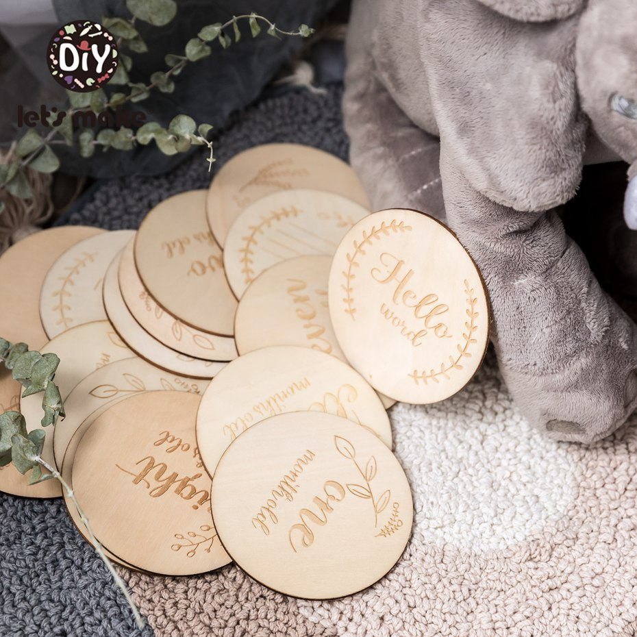 Let'S Make 12Pc 3.9In Infant Milestone Wood Commemorative Chip For Baby Growth Newborn Announcement Souvenir Monthly Crib Decor