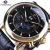 Forsining Luxury Moonphase Calendar Display Unique Design Crown Genuine Leather Shanghai Movement Men Automatic Watch Top