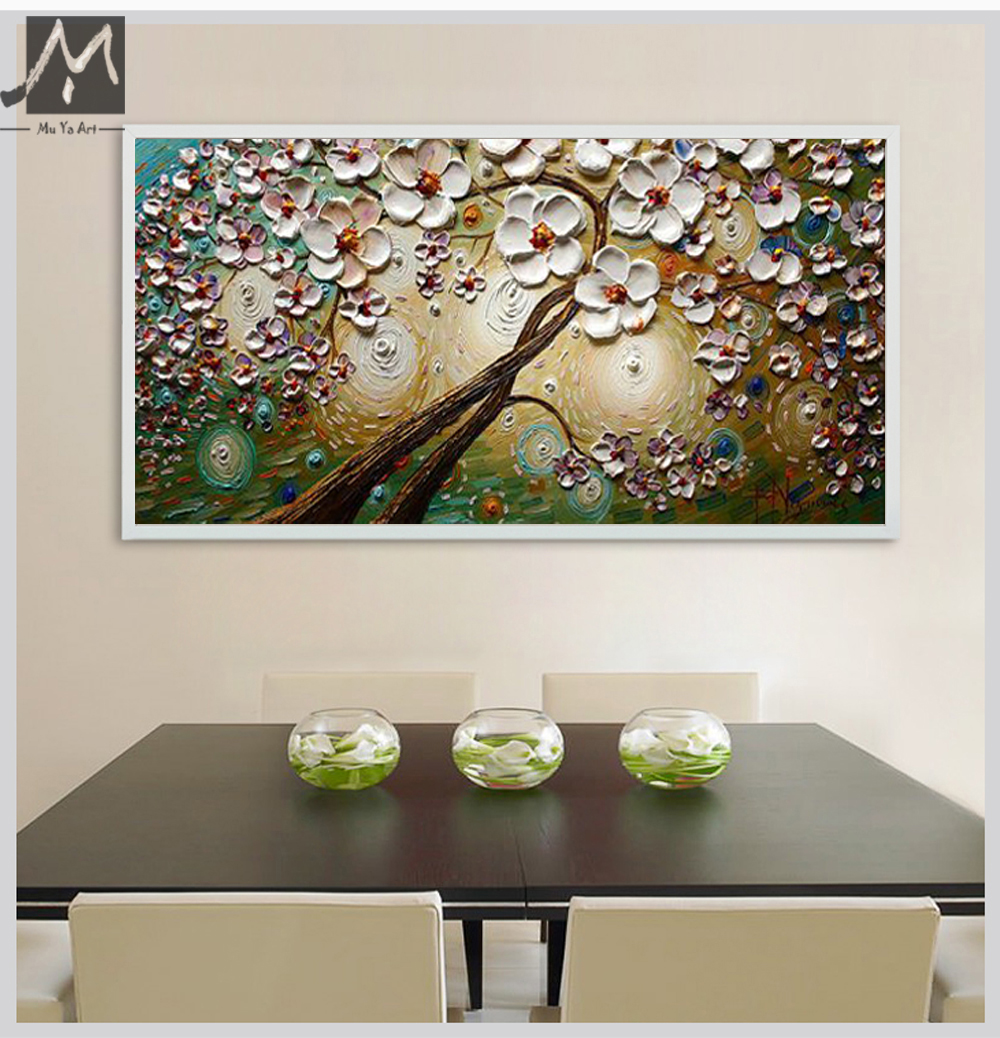 abstract large canvas wall art decorative picture acrylic painting white cherry blossom oil. Black Bedroom Furniture Sets. Home Design Ideas
