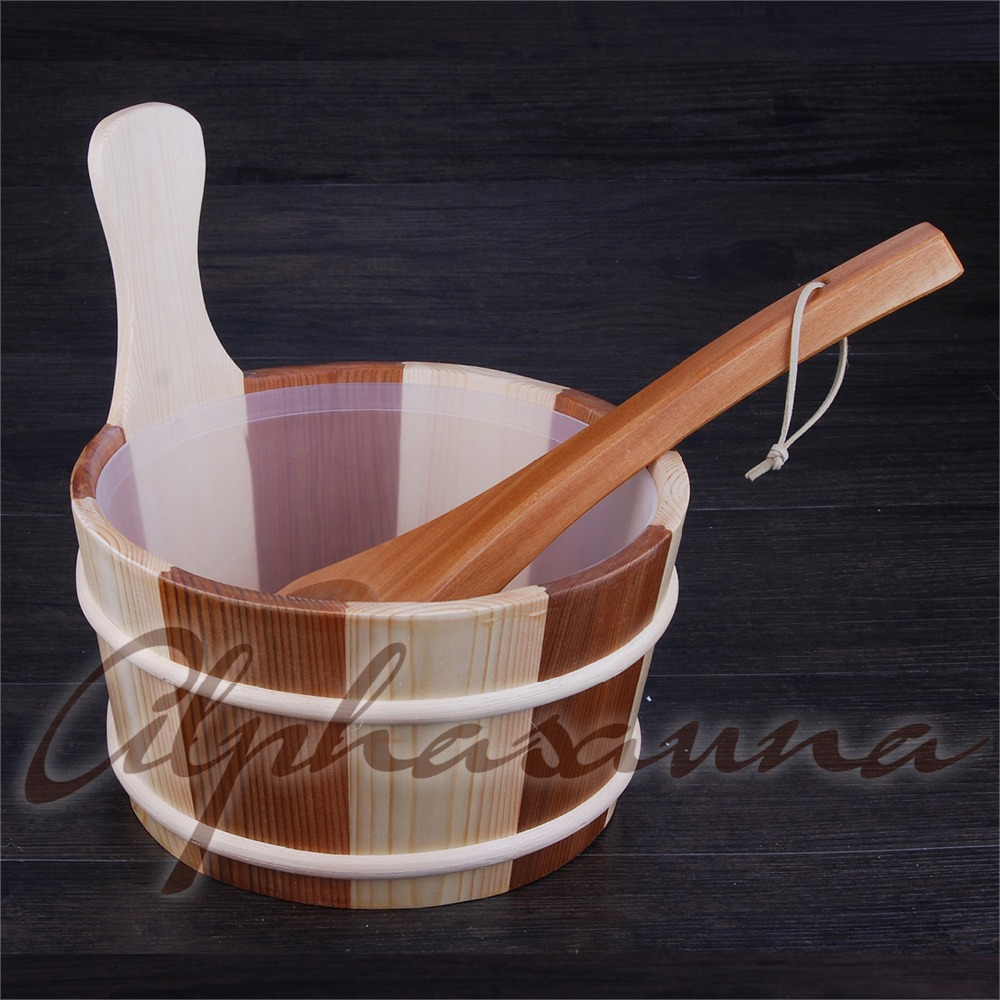 Free shipping  4L Sauna pail and ladle Red Cedar& Pine combined with Insert Factory Sauna accessories, Wholesaler, Sauna DealerFree shipping  4L Sauna pail and ladle Red Cedar& Pine combined with Insert Factory Sauna accessories, Wholesaler, Sauna Dealer
