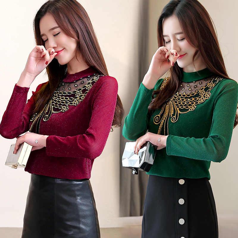 4XL рубашка из сатиновой сетки женская весна осень длинный рукав Элегантные Топы для работы в Корейском стиле мода зеленый черный Блузка офисная рубашка