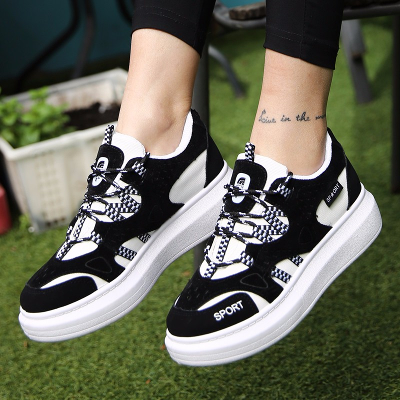 KUYUPP 2016 Autumn Fashion Women Flat Platform Shoes Sport Casual Shoes For Mens Trainers Lace Up Low Top Shoes Breathable YD111 (18)