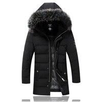 2017 mùa đông phong cách Đàn Ông mới của cusual thời trang trùm đầu Raccoon fur cổ áo màu đen xuống áo khoác nam, 90% xuống áo khoác người đàn ông