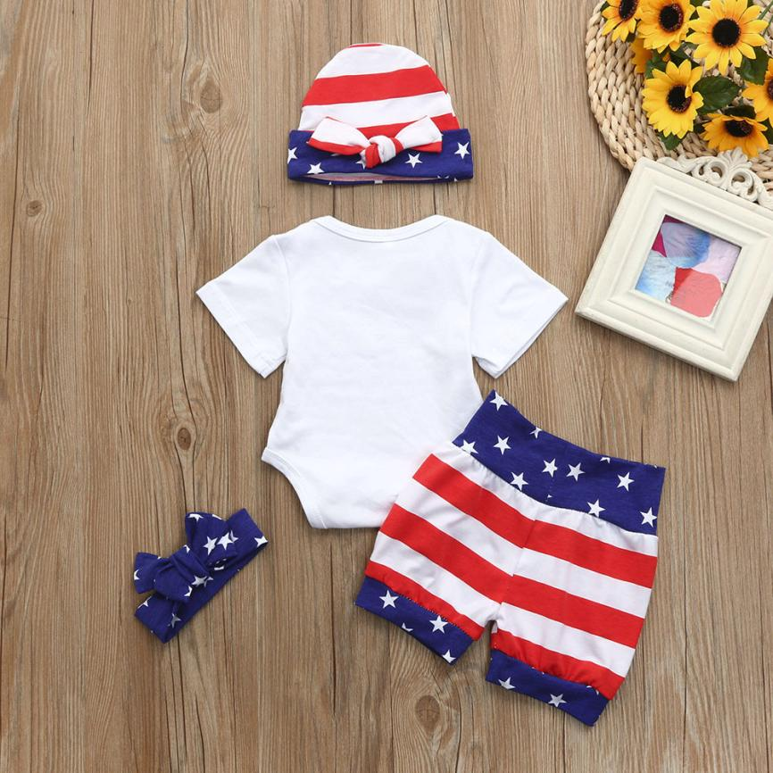 4Pcs European Style fashion Baby Girls Boys 4th Of July Star Romper+Shorts+Headband+Hat summer short set party Outfits Clothes