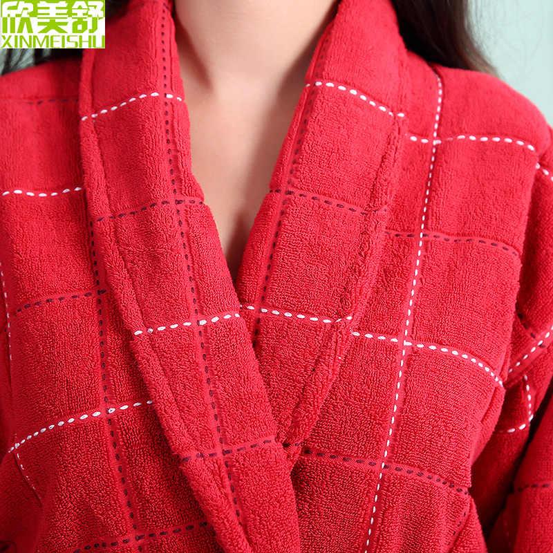 暗赤色女性綿ローブ、ロング暖かい女性テリー綿ローブ