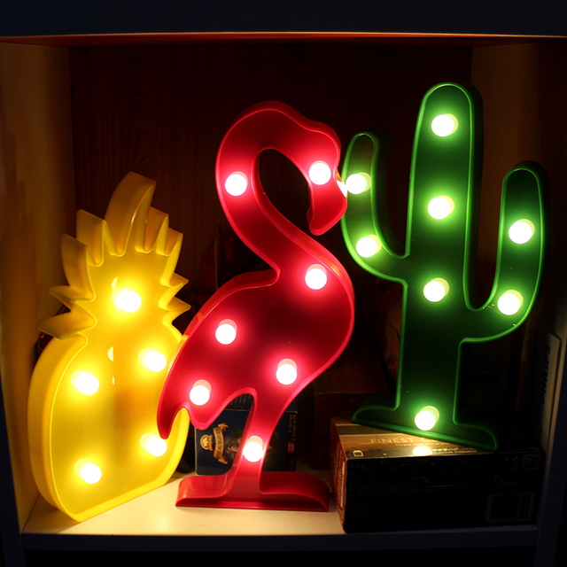 3D LED Nightlight Flamingo Pineapple Cactus Night Lamp Christmas Kids Room Decor Letter Battery LED Romantic New Year Table Lamp