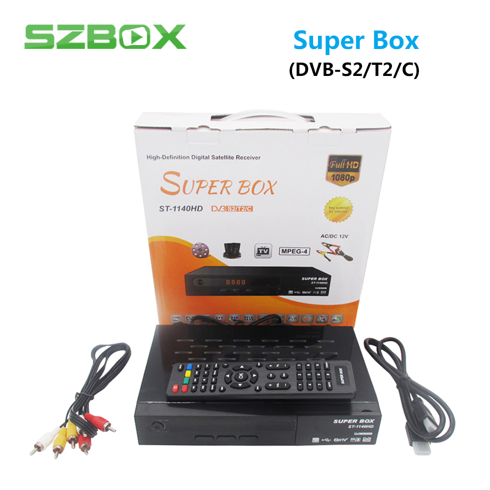 Super Box DVB-T2 DVB-S2 DVB-C Combo Digital Satellite Receiver Support Cccam Newcamd Mgcamd Powervu Key TV Turner vs freesat v7 hello box gsky v7 dvb s2 box with latin america auto roll and powervu function support all n america