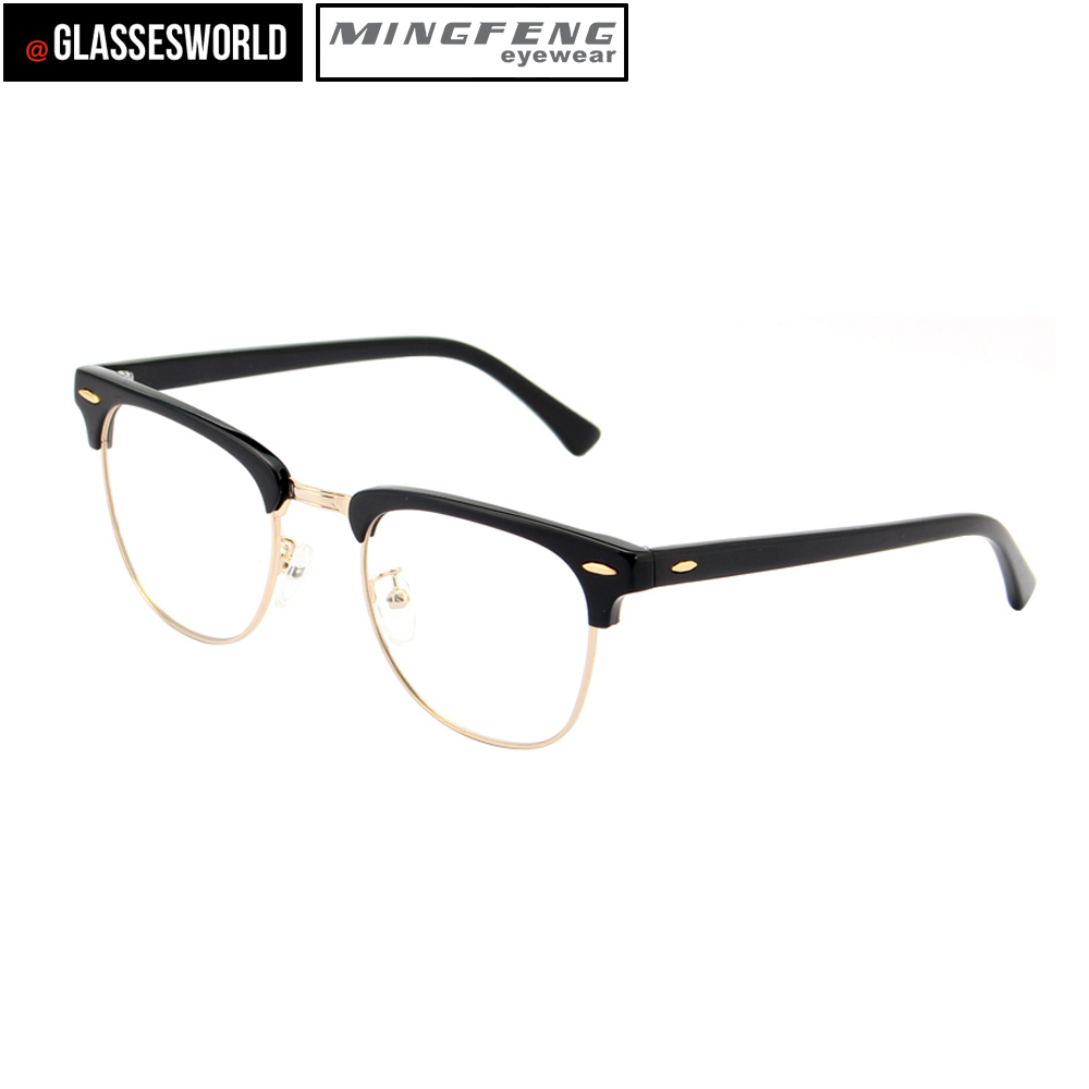 3411606f3908 Classic style eyewear Stainless steel and black acetate optical frames M1017