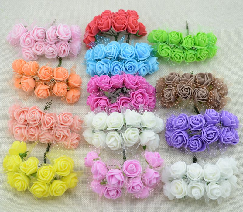 12pcs Cheap free shipping DIY mini roses artificial flowers lace wedding flower decoration flower foam hand
