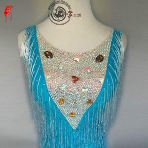 Image 3 - Kızlar latin dans giyim spandex taşlar latin dans elbise kadın latin dans kolsuz dancerın elbise elbise XXS 6XL
