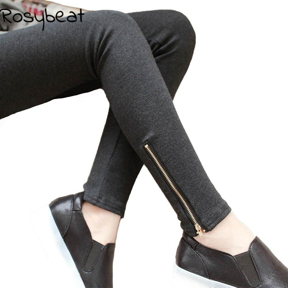 4XL Plus Size Fleece Lined Pants Women Pencil Pants Slim Fit Stretch Warm Trousers  Women Spring Legging Pants Zip Cuff XXL XXXL b2395bf00591
