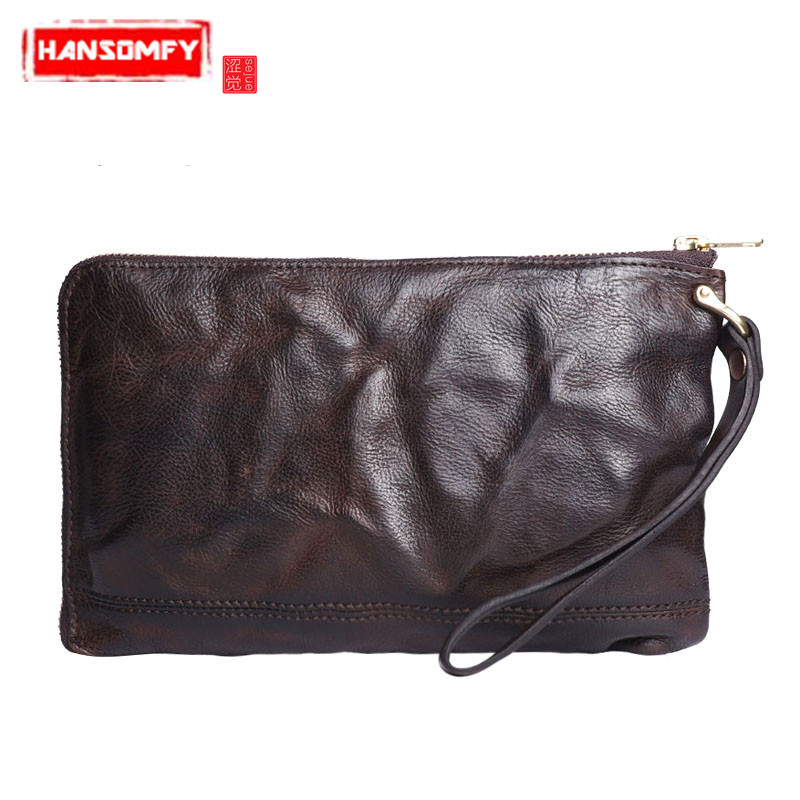 Original retro wrinkled Men short zipper clutch bag Luxury brand Genuine Leather cross wrap short zipper clutch BagOriginal retro wrinkled Men short zipper clutch bag Luxury brand Genuine Leather cross wrap short zipper clutch Bag